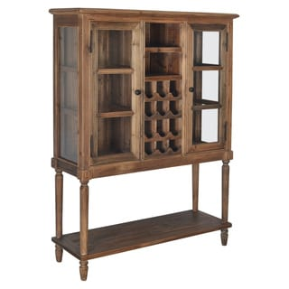 Aurelle Home Colonial Antique Solid Wood Wine Cabinet