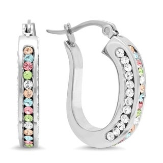 Piatella Ladies Stainless Steel Flat Back Multi-Colored Crystal Hoop Earrings in 2 Colors