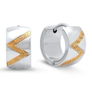 Piatella Ladies Two-Tone Stainless Steel Accented Zig Zag Greek Key Leverback Earrings