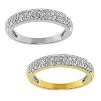 14k Yellow or White Gold 1/2ct TGW Round-cut Cubic Zirconia 3-Row Band - Clear