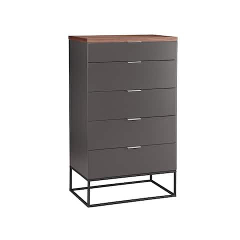 Aurelle Home Larado Modern Grey Walnut 4-drawer Dresser