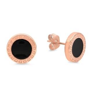 Piatella Ladies Rose Gold Tone Stainless Steel Greek Key and Black Enamel Stud Earrings