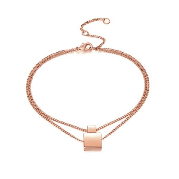 Ankle Bracelet Anklet Rose Gold Geometric Square Adjustable Anklet