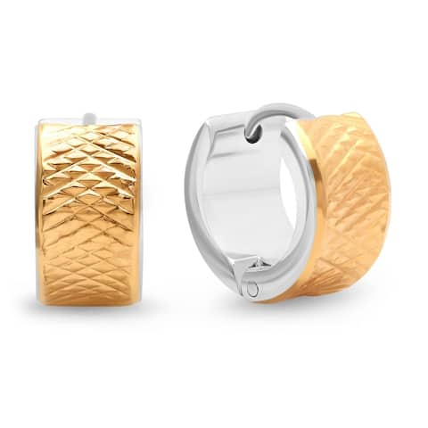 Piatella Ladies Two-Tone Stainless Steel Studded Huggie Earrings