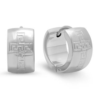 Piatella Ladies Stainless Steel Greek Key and Cross Accented Earrings in 3 Colors