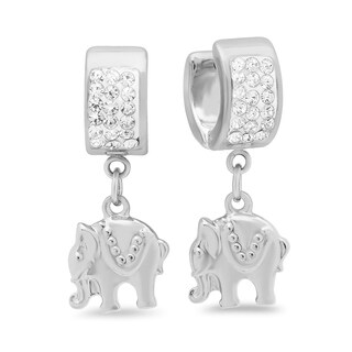 Piatella Ladies Stainless Steel Round Crystal Drop Earrings with Elephant Charms in 2 Colors