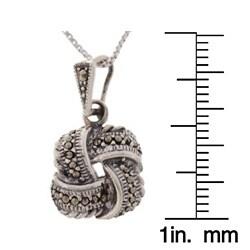 Glitzy Rocks Sterling Silver Marcasite Love Knot Pendant