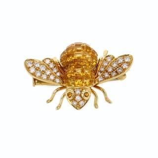 Sabbadini Gioielli 18k Yellow Gold 5 Carats TGW Yellow Sapphire and Diamond Bee Brooch (F, VS)|https://ak1.ostkcdn.com/images/products/18757781/P24828840.jpg?impolicy=medium