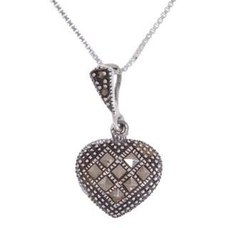 Glitzy Rocks Sterling Silver Marcasite Heart Pendant