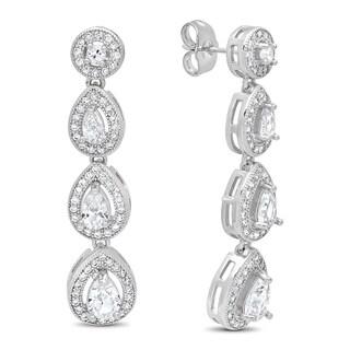 Piatella Ladies White Gold Tone Brass Cubic Zirconia Pear Cut Drop Earrings