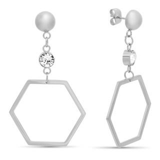 Piatella Ladies Stainless Steel Hexagonal Drop Earrings Adorned with Swarovski Elements Crystals in 2 Colors