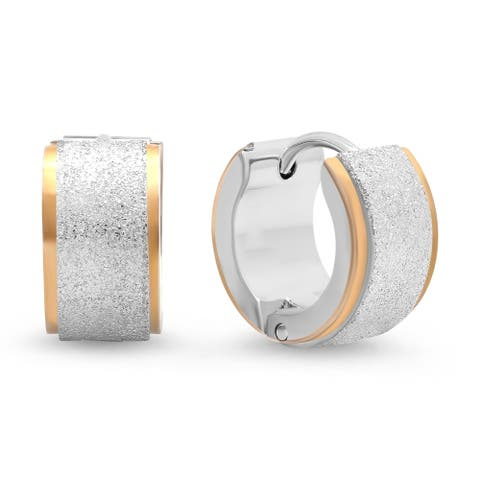 Piatella Ladies Two-Tone Stainless Steel Huggie Earrings with Glitter