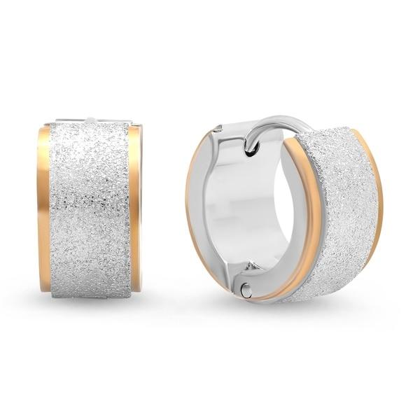 Piatella Las Two Tone Stainless Steel Leverback Earrings With Glitter