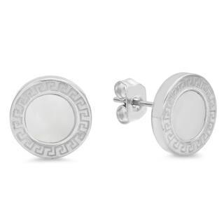 Piatella Las Stainless Steel Greek Key And Mother Of Pearl Stud Earrings In 2 Colors
