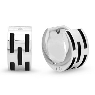 Piatella Ladies Stainless Steel and Black IP Stainless Steel Indent Leverback Earrings
