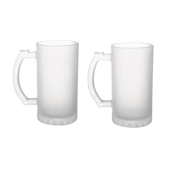 6 Pack Frosted Glass 16 oz. Stein Beer Mug - Tankard Beer Mugs