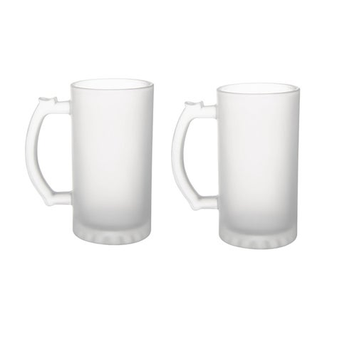 6 Pack Frosted Glass 16 oz. Stein Beer Mug - Tankard Beer Mugs