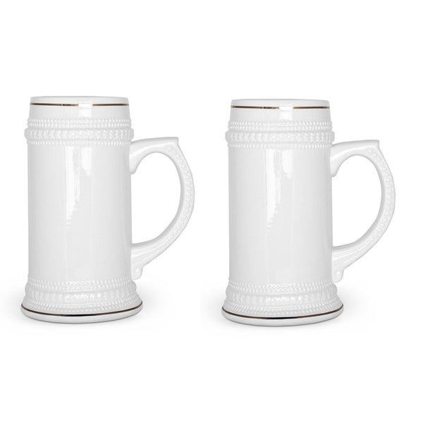 2 Pack Ceramic 18 Oz. Stein Pub Beer Mug - Ceramic tankard Beer Mugs