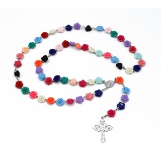 Ma. Cristina Flat Roses Full Rosary in Multicolor Bright Colors