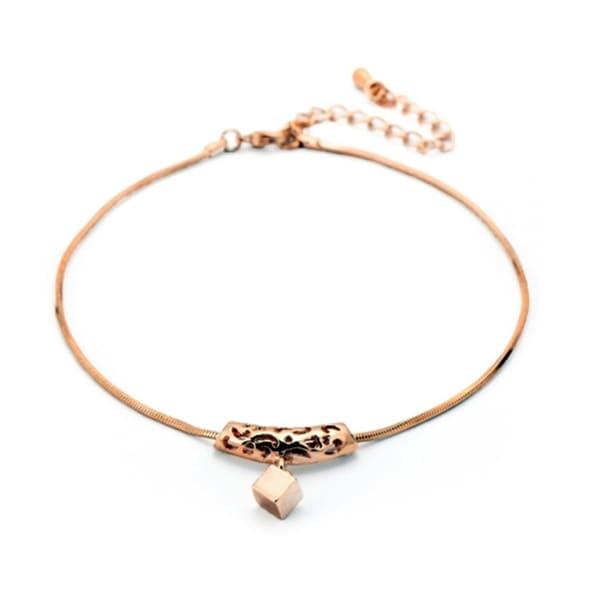 Ankle Bracelet Anklet Rose Gold Cube Charm Adjule