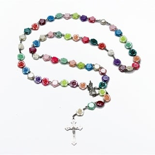 Ma. Cristina Flat Roses Full Rosary in Multicolor Pastel Colors.