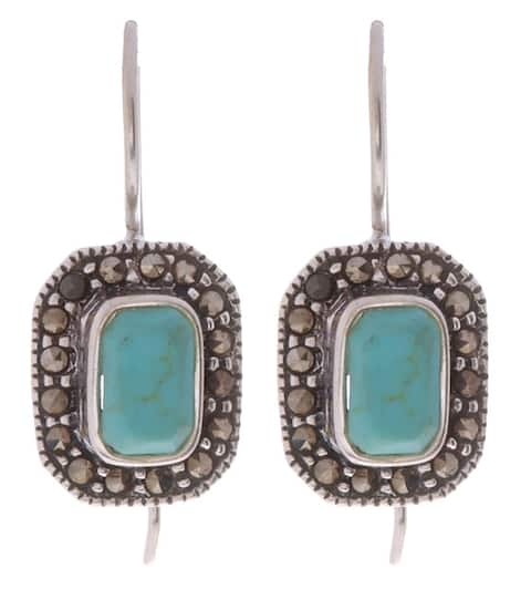 Glitzy Rocks Sterling Silver Marcasite and Synthetic Turquoise Earrings