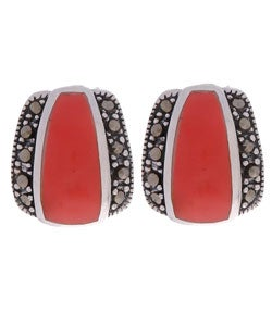 Glitzy Rocks Sterling Silver Marcasite and Synthetic Coral Earrings