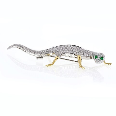 [Preowned] 18k Two Tone Gold 9 1/2 Carats TDW Diamond Gecko Brooch - 1980s Fashion (F, VS)