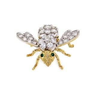 Hammerman Brothers 18k Two Tone Gold 4 1/4 Carats TGW Diamond and Emerald Bee Brooch (F, VS)