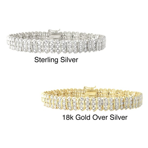 DB Designs Sterling Silver 1/8ct TW Diamond Bracelet (I-J, I3)