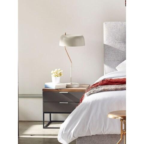 Aurelle Home Italian Collection Modern Grey Walnut Night Stand