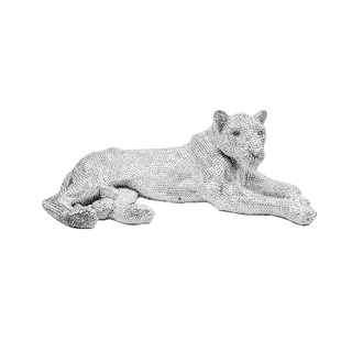 Aurelle Home Large Panther Silver Metal Sculpture