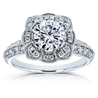 Annello by Kobelli 14k White Gold 1 1/2ct TGW Moissanite (DEF) and Diamond Floral Engagement Ring