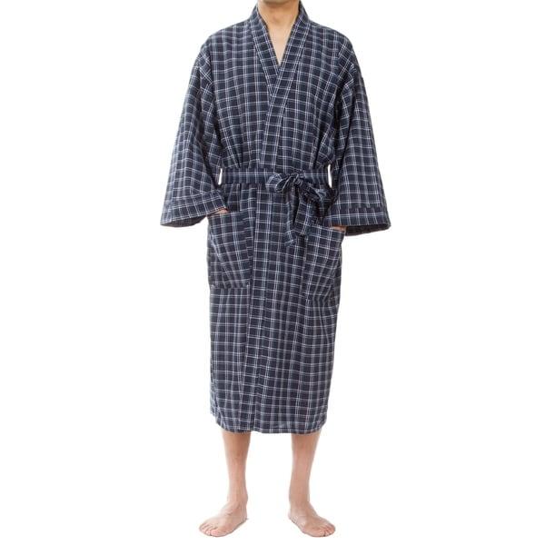 Leisureland Mens Navy Plaid Robe