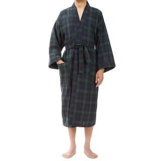 Leisureland Men's Green Plaid Robe