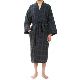 Leisureland Men's Green Plaid Robe