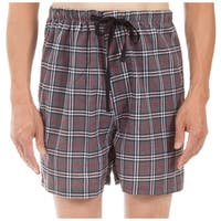 Leisureland Men's Gray Plaid Pajama Boxer Shorts