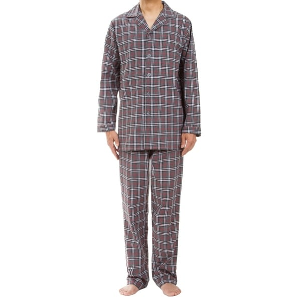 Leisureland Mens Gray Plaid Pajama Set