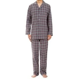Leisureland Men's Gray Plaid Pajama Set