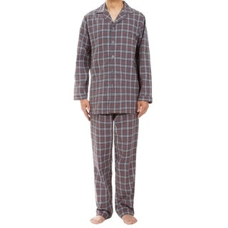 Leisureland Men's Gray Plaid Pajama Set