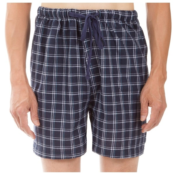 Leisureland Men's Navy Plaid Pajama Boxer Shorts