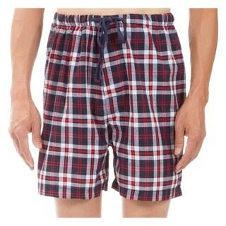 Leisureland Men's Red Plaid Pajama Boxer Shorts