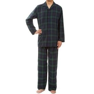 Leisureland Men's Green Plaid Pajama Set