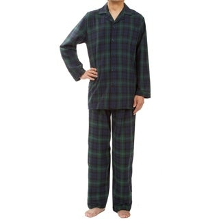 Leisureland Men's Green Plaid Pajama Set