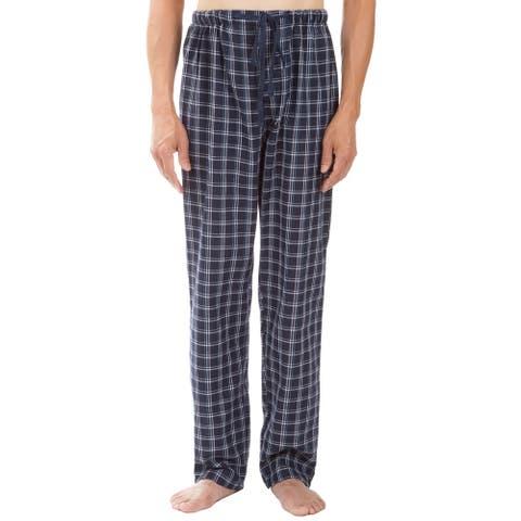 Leisureland Men's Navy Plaid Pajama Pants
