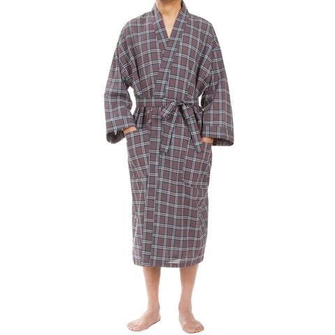 Leisureland Men's Gray Plaid Robe
