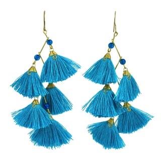 Zig Zag Chandelier Blue Tassels Stone Brass Drop Earrings (Thailand)