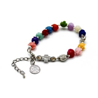 Indian Rose Resin Beads in 13 Solid Colors with St. Benedict Medal Charm Back-to-Back Spacer Bead and Metal Cross in Goldtone