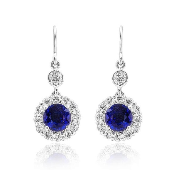 cd201cd669cc7e Shop 18K White Gold 3.64ct TGW Sapphire and White Diamond One-of-a ...