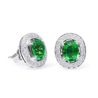 18K White Gold 2.39ct TGW Tsavorite and Diamond Halo One-of-a-Kind Earrings - Green
